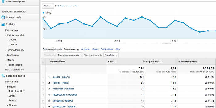Le visite su Google Analytics, screenshot di esempio